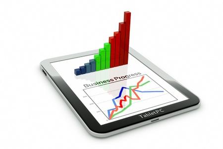 graficos: un Tablet PC y de negocios diagrama como un concepto de proceso de desarrollo de negocios