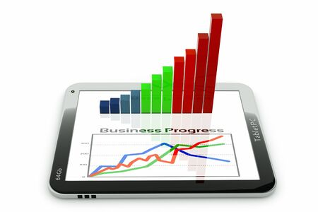 quantities: a tablet pc and business diagram as a concept of process of business development
