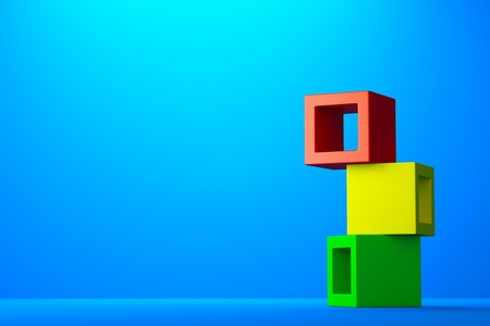 concrete blocks: a render colour cubes background Stock Photo