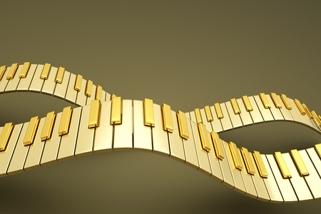 synthesizer: a gold  piano keyboard waves  Stock Photo