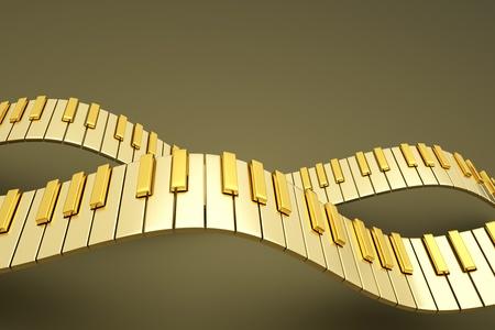 teclado piano: una medalla de oro las ondas de teclado de piano Foto de archivo