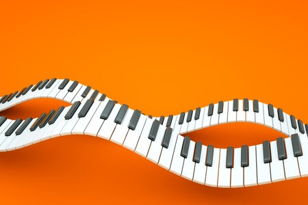 music 3d: a piano keyboard waves on orange