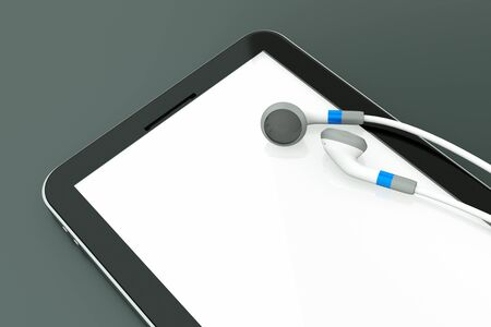 a single white music player with earphones on white Stock Photo - 11573368