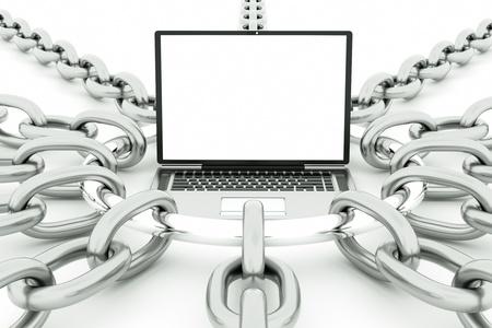 a laptop in slavery, technology bondage concept photo