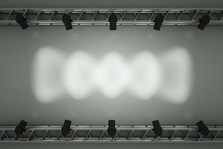concert hall: a center stage with metal frame, put your object or word  in the center