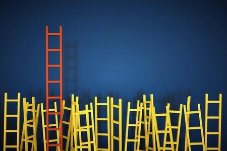 een wedstrijd concept, ladders op blauw Stockfoto