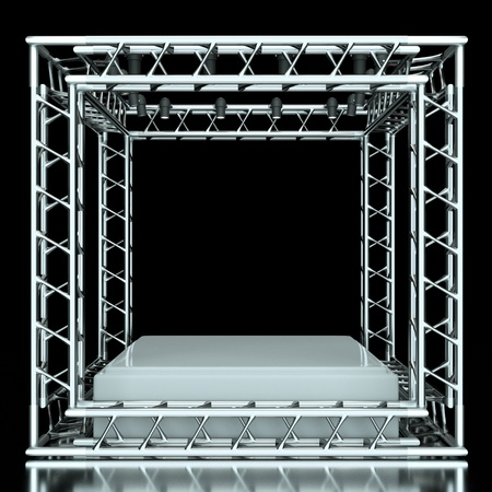 a center stage with metal frame, put your object in the center photo