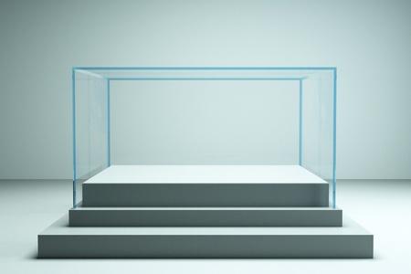 a glass showcase in a room
