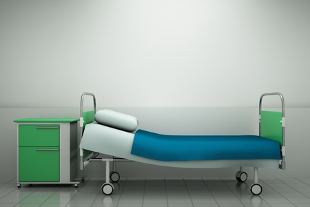 a hospital bed in a room Stock Photo