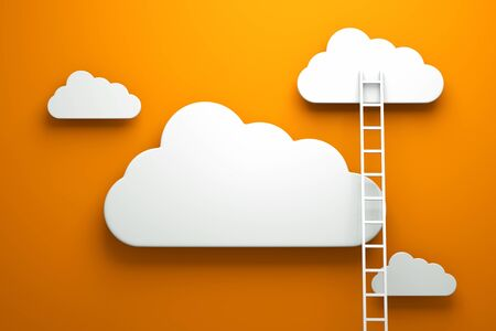 stepladder: a competition concept, clouds with ladders on orange