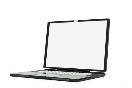 a laptop with white screen isolated on white, put your own picture inside Stock Photo - 11819978