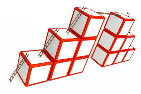 busness: a busness concept with starcases and cubes