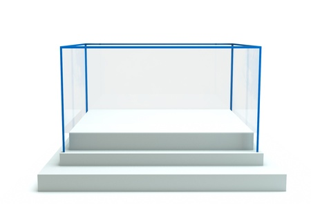 a isolated glass showcase in a room photo