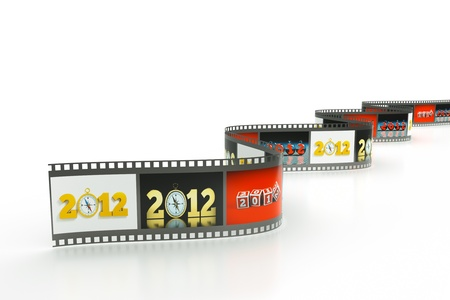 a reel of film with pictures of 2012 year as a concept background photo