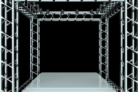 empty stage: a center stage with metal frame, put your object in the center