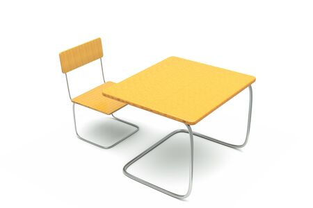 a table with chair, workplace on white photo