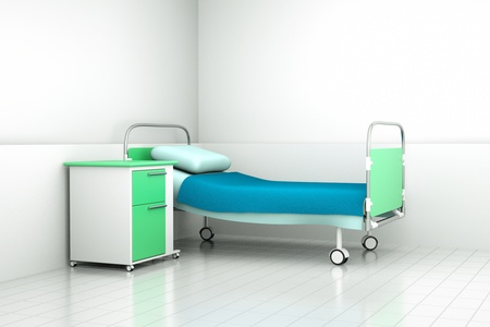 sanitarium: a hospital bed in a room Stock Photo