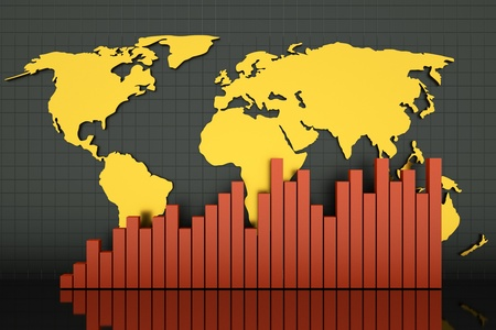 a line diagram with golden map for illustrate a world business state photo