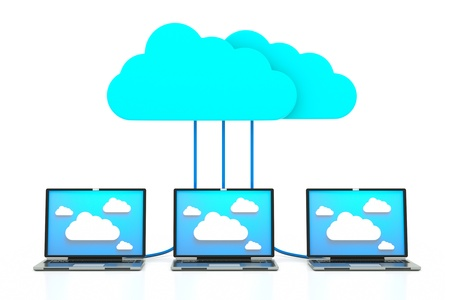 a cloud computering concept, 3d model of laptops with clouds Stock Photo - 11886079