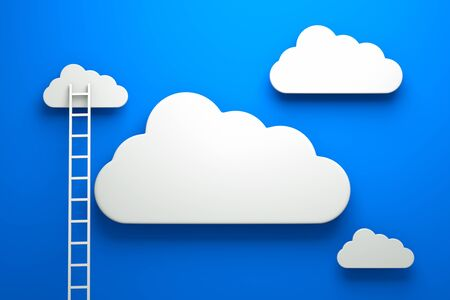 wooden stairs: a competition concept, clouds with ladders on blue