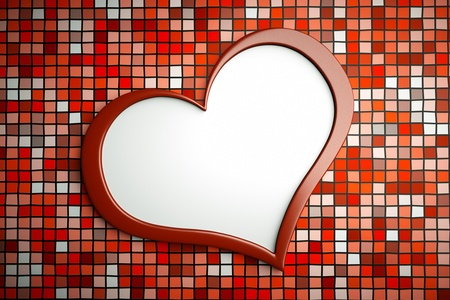 3d image: a heart on mosaic wall as a background Stock Photo