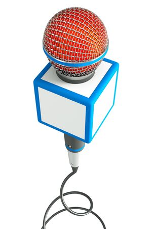 a news reporter microphone on white photo