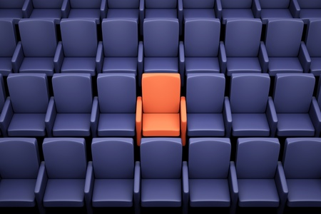 theater seat: a movie theater seats, one special seat
