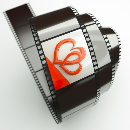 3d image: a film reel with hearts background on it