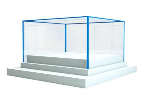plexiglas: a isolated glass showcase ion white Stock Photo