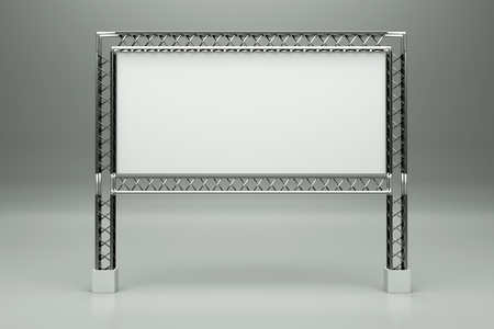 a metal billboard on grey photo