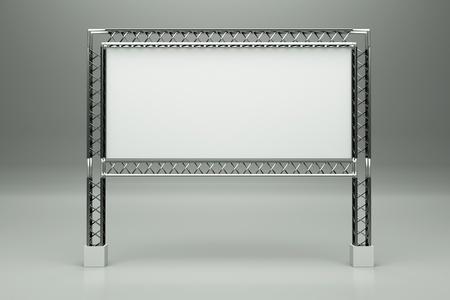 billboard blank: a metal billboard on grey