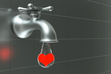 a faucet with water drop, heart inside the drop, turn the tap love concept photo