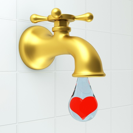 a faucet with water drop, heart inside the drop, turn the tap love concept