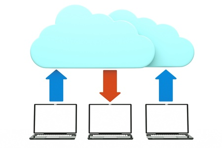 computering: a cloud computering concept, 3d model of laptops with clouds