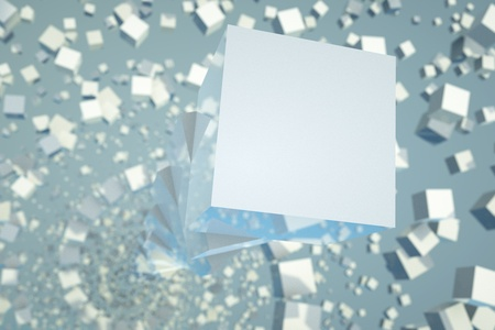 a blue cubes abstract background photo