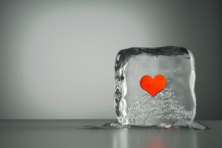 a frozen red heart as a simbol of frozen love, ice cubes with heart, a defrosting process