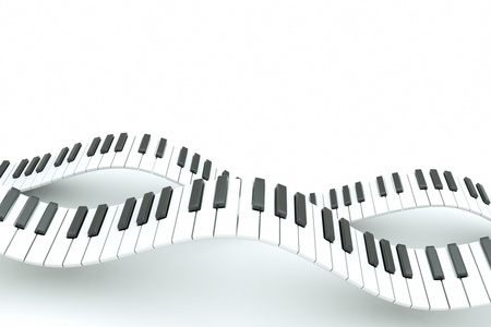 computer keyboard keys: a piano keyboard waves on white