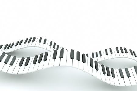 teclado piano: un oleaje de teclado de piano sobre fondo blanco