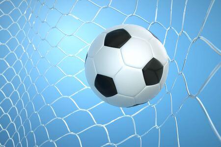 football net: a goal concept, a ball in a net Stock Photo