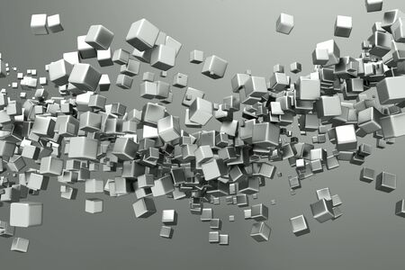 a titanium cubes abstract background Stock Photo