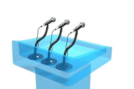 a  transparent blue podium with microphones isolated on white photo