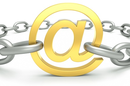 adresses: an e-mail sign with chain isolated on white