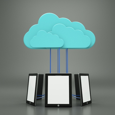 a tablet computers with blue clouds, cloud computing