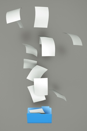 a documents falling in a empty open folder Stock Photo - 12377593