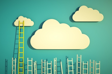 business success: a competition concept, clouds with ladders on blue