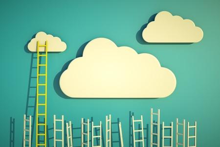 concept: een wedstrijd concept, wolken met ladders op blauw