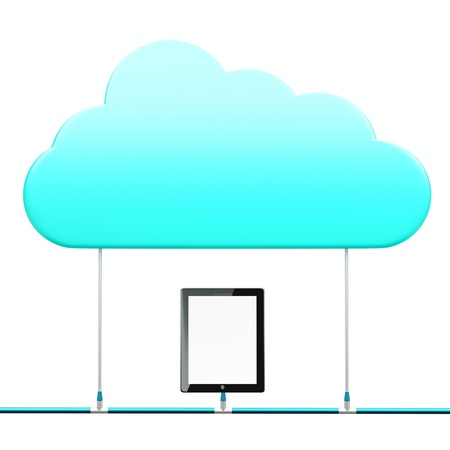 a tablet computer with blue clouds, cloud computing Stock Photo - 12377583