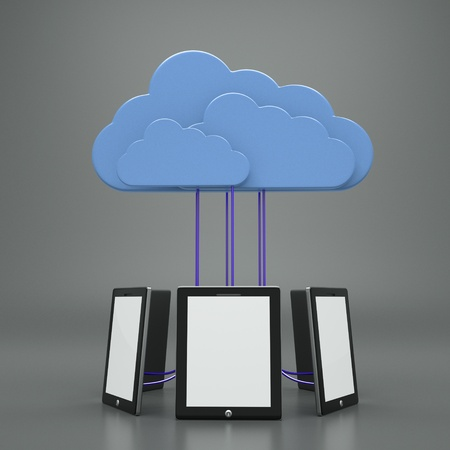 a tablet computers with blue clouds, cloud computing photo