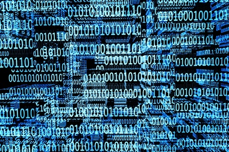 a blue binary codes background Stock Photo - 12377614