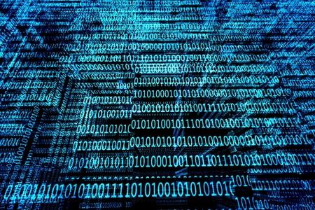 un código binario de fondo azul